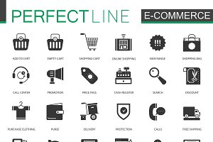Black E-commerce shopping icons set