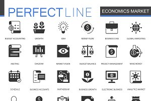 Black Economics market icons set