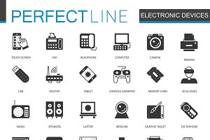 Black electronic devices icons set