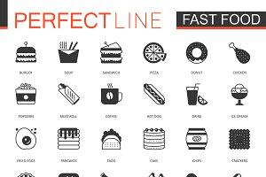 Black Fast Food icons set