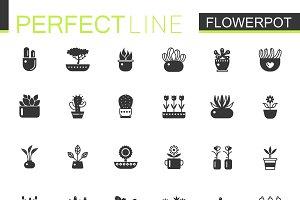 Black House plants pots icons set