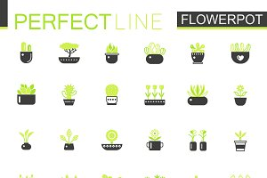Double color Black green pots icons