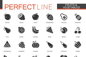 Black Fruits and vegetables icons