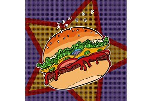 Fast food Burger on a star