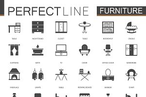 Black Furniture icons set