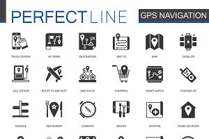 Black Navigation, gps map icons