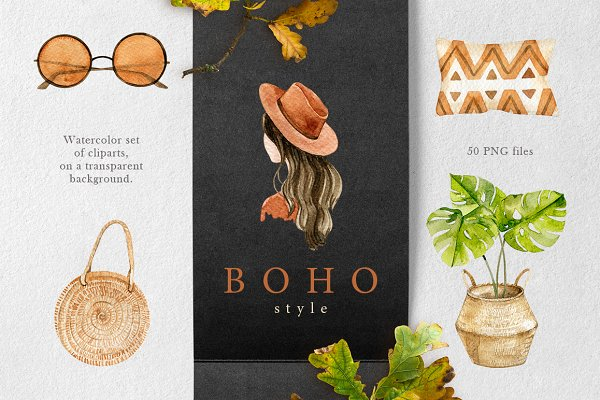 Illustrations and Illustration Products - Boho style collection