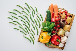 top view of box with fresh ripe vege