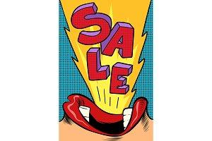 Sale. Pop art style. Female mouth
