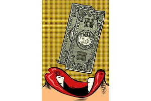 Woman eats money. Pop art style