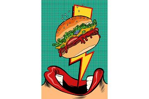 Woman eating Burger. Pop art style