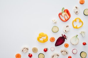 top view of slices of fresh healthy