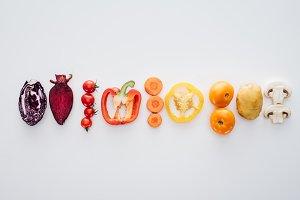 top view of various healthy fresh ve