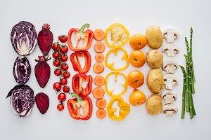 top view of fresh raw healthy vegeta