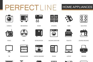 Black home appliances icons