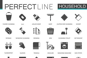 Black household icons set.