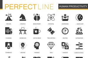 Black Human productivity icons set