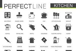 Black Kitchen icons set