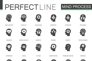 Black mind process features icons