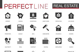 Black Real estate icons set
