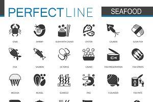 Black Seafood icons set
