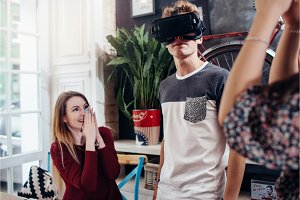 Emotional teenagers using VR headset