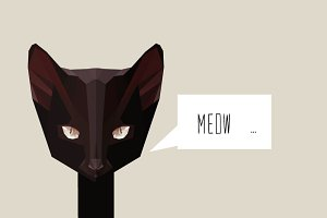 Low Poly Black Cat and Bubble