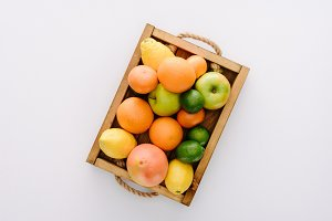top view of various ripe fruits in w