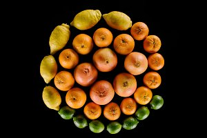 top view of various citrus fruits co