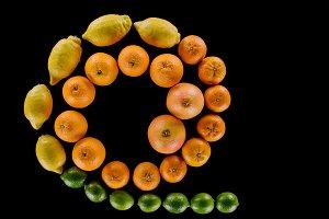 top view of various fresh citrus fru