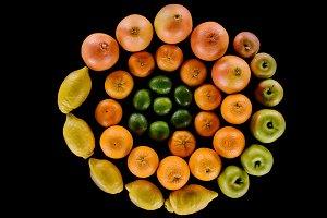 top view of various ripe citrus frui