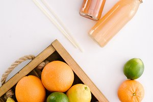 top view of various citrus fruits in