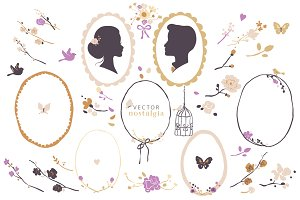 Vector Silhouette & Frames Clip Art
