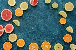 top view of citrus fruits sliced in