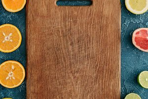 top view of wooden cutting board sur