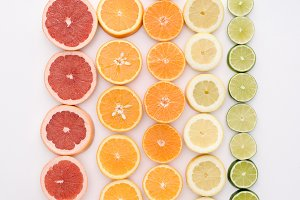 top view of various citrus fruits sl