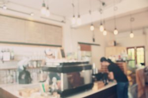 Blurred background of coffee bar