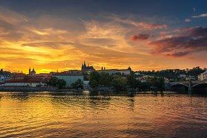 Prague Castle and Vltava river at