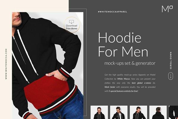 Men Hoodie Mock-ups Set FREE DEMO