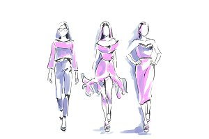 Fashion silhouettes, scribbles