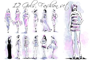 Big set of fashion scribbles, 12 it
