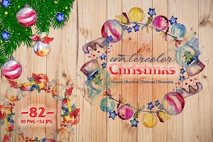 Christmas balls toy PNG watercolor