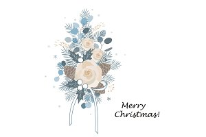 Christmas bouquet arranged with