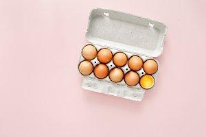 Brown eggs cardboard box