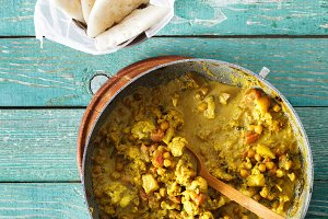 Cauliflower spicy curry frying pan