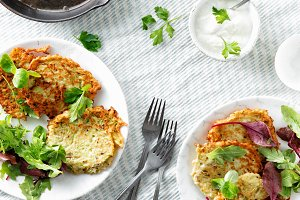 Vegetarian snacks courgettes fritter