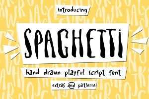 Spaghetti cute playful font & Extras