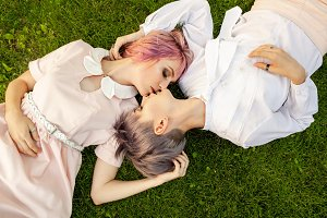 Happy playful lesbian couple in love