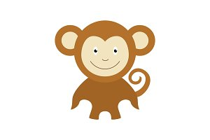 Monkey cartoon design flat