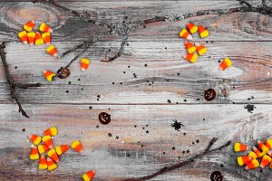 Halloween background and candy corns